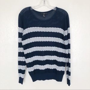 FOREVER 21 Navy and White Striped Sweater
